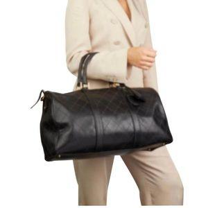 Vtg CHANEL Black Lambskin Duffel Bag GHW